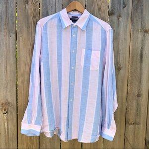 Island Company   Pink Blue Classic Striped Shirt